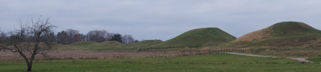 The five burial mounds stood tall in the relatively flat landscape.